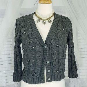 Zara Pearl Detail Knit Cardigan